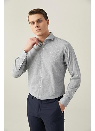 D'S Damat Slim Fit Baskılı Gömlek Gri